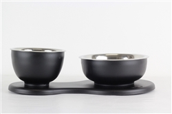 Removable Double Bowl Set for Dogs Black