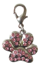 RHINESTONE PAW PRINT CHARM ASSORTED COLORS