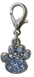 "RHINESTONE PAW PRINT CHARM / 3/4"" ASSORTED COLORS"
