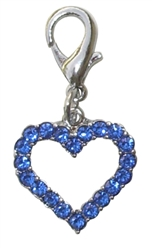 CRYSTAL OPEN HEART CHARM ASSORTED COLORS