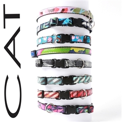 Cat Collars -- Laminated Cotton, 8 Styles