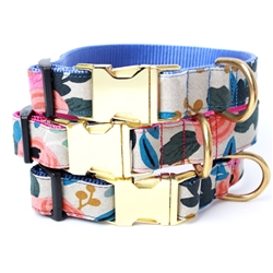 FLEUR Floral Canvas Dog Collar w Rifle Paper Co. Fabric -- Natural