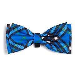 Bias Plaid Blue Bow Tie