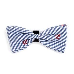 Navy Stripe Anchor Bow Tie