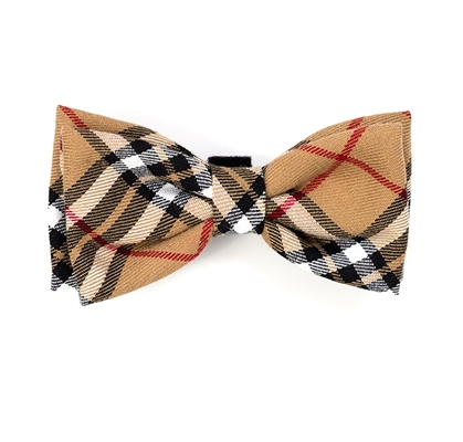 Tan Plaid Bow Tie