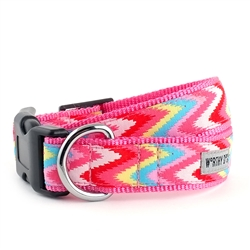 Static Chevron Pink Collar & Lead Collection