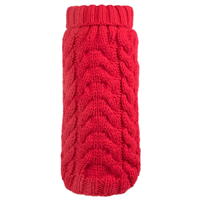 Hand Knit Red Turtleneck Sweater