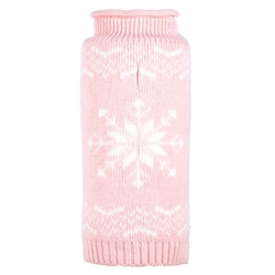 Snowflake Icy Pink Roll Neck Sweater