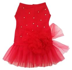 RED TULLE DRESS W/RHINESTONES & FLOWER