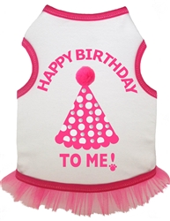 Birthday Hat Tank Dress w/rhinestones -White/Pink