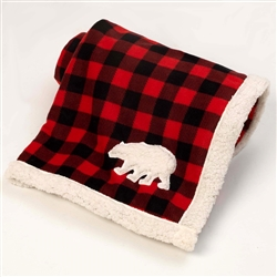 Red/Black Jackson Buffalo Check Fleece Polar Bear Blanket