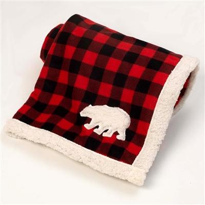 Red/Black Jackson Buffalo Check Fleece Polar Bear Blanket