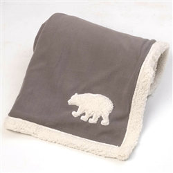 Gray Jackson Fleece Polar Bear Blanket