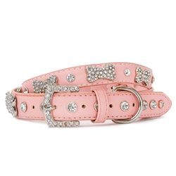 VP Pets Designer Diamond and Bone Pink Leatherette Collar & Leash Collection
