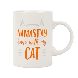 Namast'ay Home with My Cat, 14oz Ceramic Mug