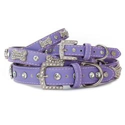 VP Pets Designer Diamond and Bone Violet Leatherette Collar & Leash Collection