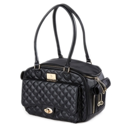 Vanderpump Classic Black Quilted Luxury Pet Carrier with PU Strap