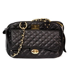 Vanderpump Classic Black Quilted Luxury Pet Carrier with Chain