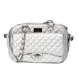 Vanderpump Classic Silver Quilted Luxury Pet Carrier with Chain