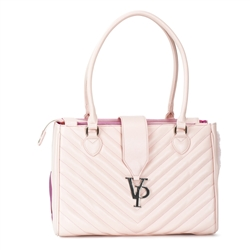 Vanderpump Light Pink Monogramme Strap Pet Carrier