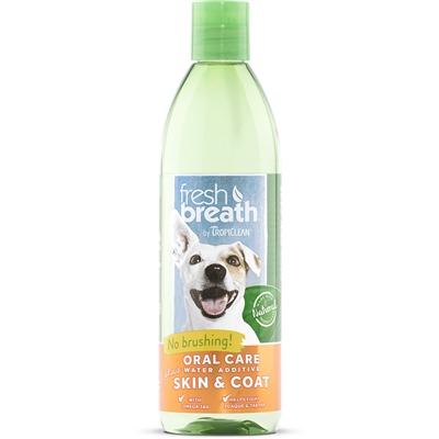 TROPICLEAN FRESH BREATH DOG WATER ADDITIVE SKIN COAT 16OZ.