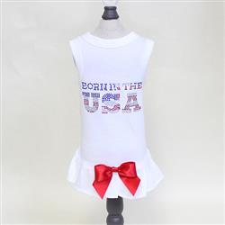 Born in the USA Dog Dress: White
