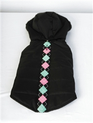 ARGYLE QUILTED COAT / BLACK