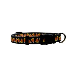 Candy Corn on Solid Black ORION LED Dog Collar