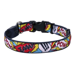 Comic Print on Solid Black ORION LED Dog Collar