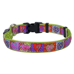 Crazy Hearts on Old Green Polka Dot ORION LED Dog Collar