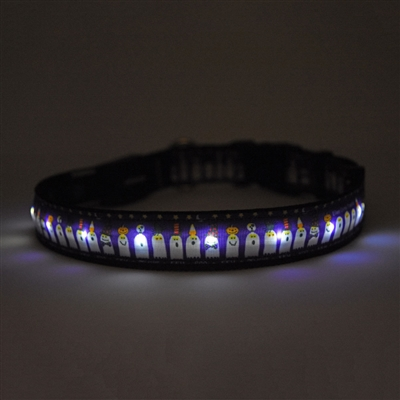 Ghost Party on Solid Black ORION LED Dog Collar