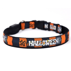Happy Halloween on Solid Black ORION LED Dog Collar