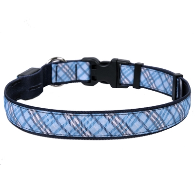 London Plaid Light Blue ORION LED Dog Collar