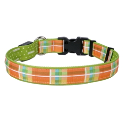 Madras Orange on Old Green Polka Dot ORION LED Dog Collar