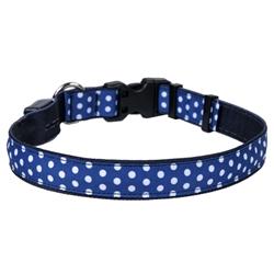 Navy Polka Dot on Solid Black ORION LED Dog Collar
