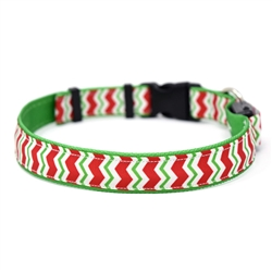 Peppermint Chevron on Solid Kelly Green ORION LED Dog Collar