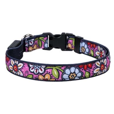 Pink Garden on Solid Black ORION LED Dog Collar