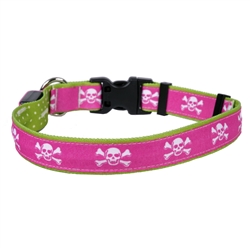 Pink Skulls on Old Green Polka Dot ORION LED Dog Collar
