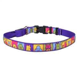Pop Art Dogs on Solid Purple ORION LED Dog Collar