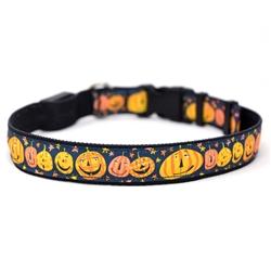 Pumpkin Party on Solid Black ORION LED Dog Collar