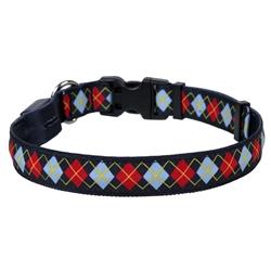 Red Argyle on Solid Black ORION LED Dog Collar