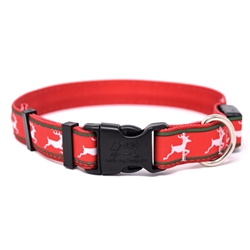 Reindeer Print on Solid Red ORION LED Dog Collar