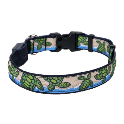 Turtles on the Beach on Solid Black ORION LED Dog Collar