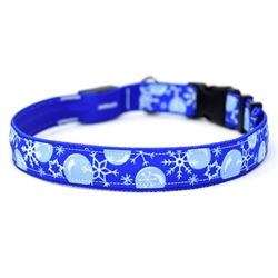 Winter Wonderland on Solid Royal ORION LED Dog Collar