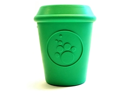 SodaPup Coffee Cup Durable Natural Rubber Dog Chew Toy and Treat Dispenser for Aggresive Chewers, Guaranteed Tough, Made in USA, Large Green