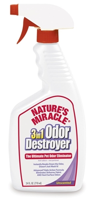 NATURES MIRACLE 3IN1 ODOR DESTROYER UNSCENTED TRIGGER SPRAY 24OZ