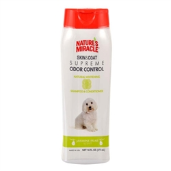 NATURE'S MIRACLE SUPREME ODOR CONTROL NATURAL WHITENING SHAMPOO/CONDITIONER 16OZ