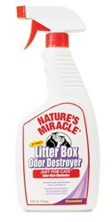 NATURES MIRACLE JUST FOR CATS LITTER BOX ODOR DESTROYER TRIGGER SPRAY 24OZ