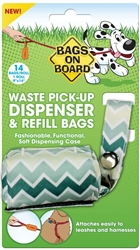 Bags On Board Fashion Dispenser Green Chevron Print 14Ct