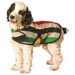 Grey Striped Dog Coat with Fleece Lining